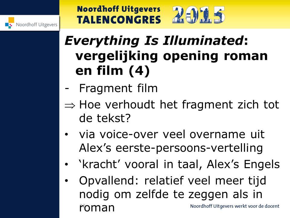 32 Everything Is Illuminated: vergelijking opening roman en film (4) -Fragment film Hoe verhoudt het fragment zich tot de tekst.