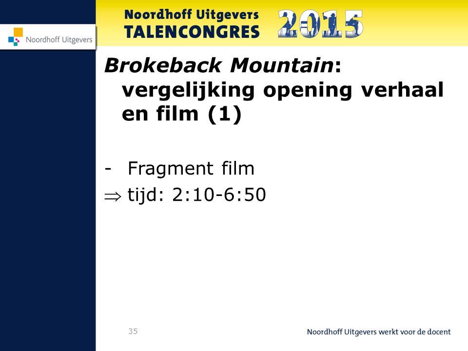 35 Brokeback Mountain: vergelijking opening verhaal en film (1) -Fragment film tijd: 2:10-6:50