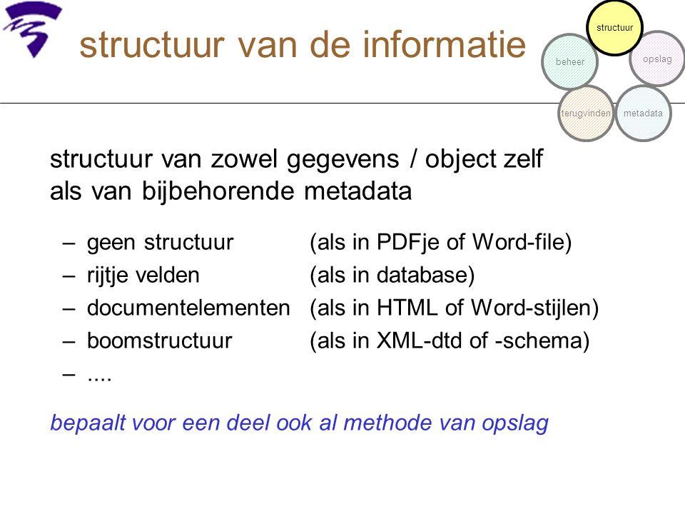 structuur van de informatie structuur van zowel gegevens / object zelf als van bijbehorende metadata –geen structuur(als in PDFje of Word-file) –rijtj