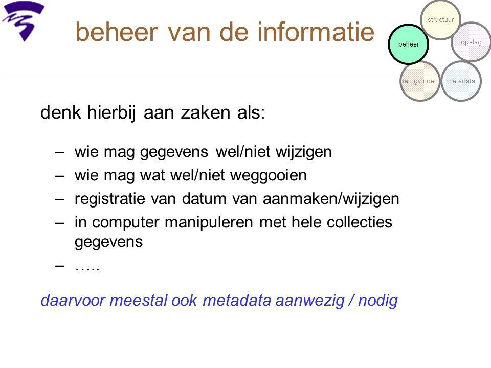 metadata bij de informatie niveaus: 1: welk metadata formalisme.