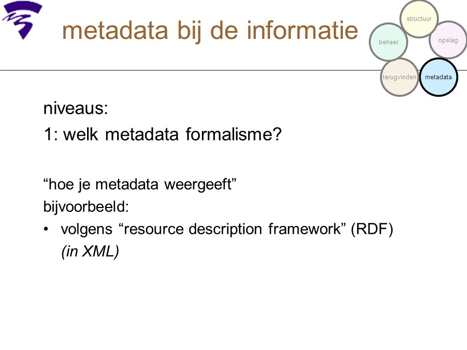 """metadata bij de informatie niveaus: 1: welk metadata formalisme? """"hoe je metadata weergeeft"""" bijvoorbeeld: volgens """"resource description framework"""" (R"""