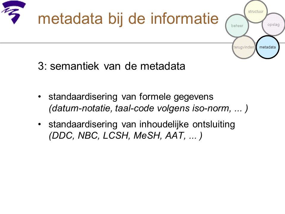 3: semantiek van de metadata standaardisering van formele gegevens (datum-notatie, taal-code volgens iso-norm,... ) standaardisering van inhoudelijke