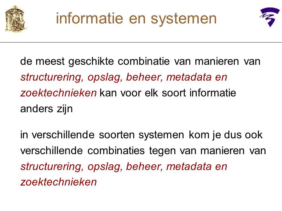 structuur van de informatie structuur van zowel gegevens / object zelf als van bijbehorende metadata –geen structuur(als in PDFje of Word-file) –rijtje velden (als in database) –documentelementen (als in HTML of Word-stijlen) –boomstructuur(als in XML-dtd of -schema) –....