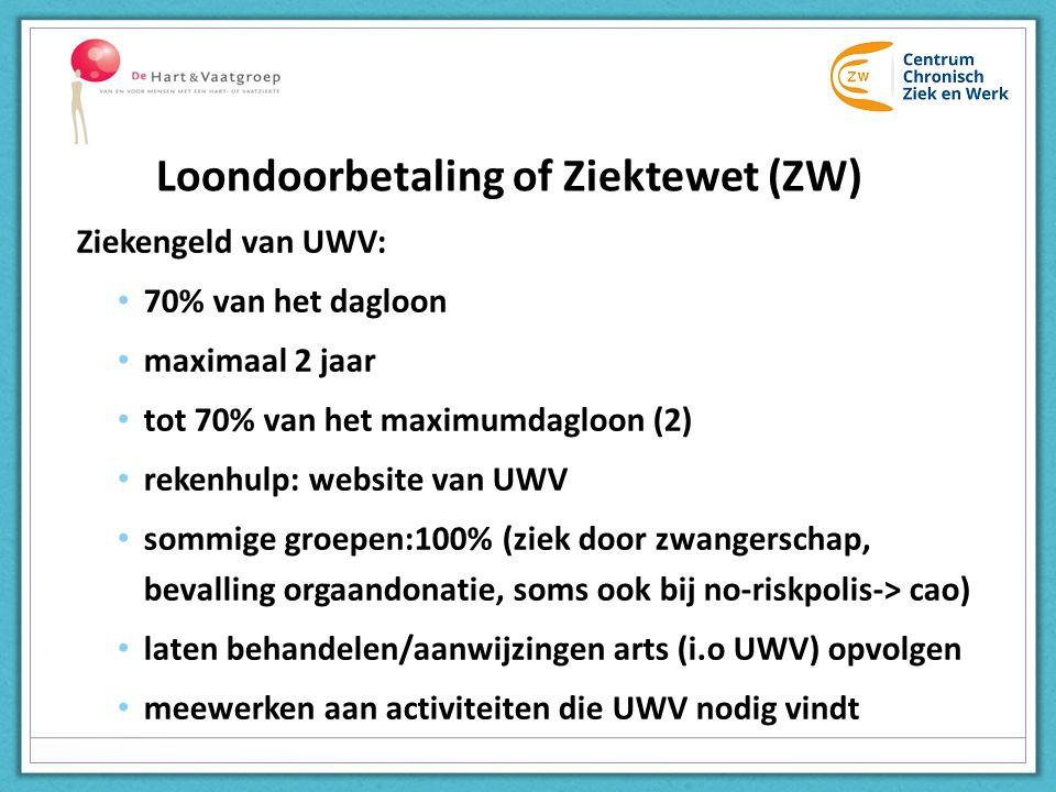 Ziekengeld van UWV: 70% van het dagloon maximaal 2 jaar tot 70% van het maximumdagloon (2) rekenhulp: website van UWV sommige groepen:100% (ziek door