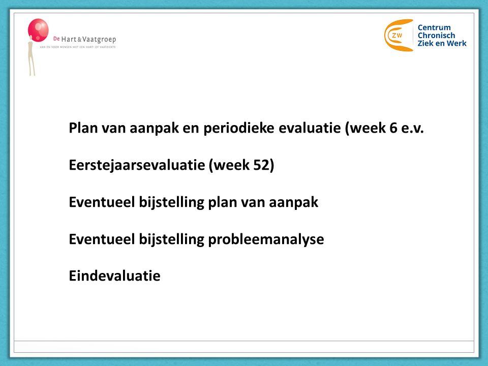 Plan van aanpak en periodieke evaluatie (week 6 e.v. Eerstejaarsevaluatie (week 52) Eventueel bijstelling plan van aanpak Eventueel bijstelling proble