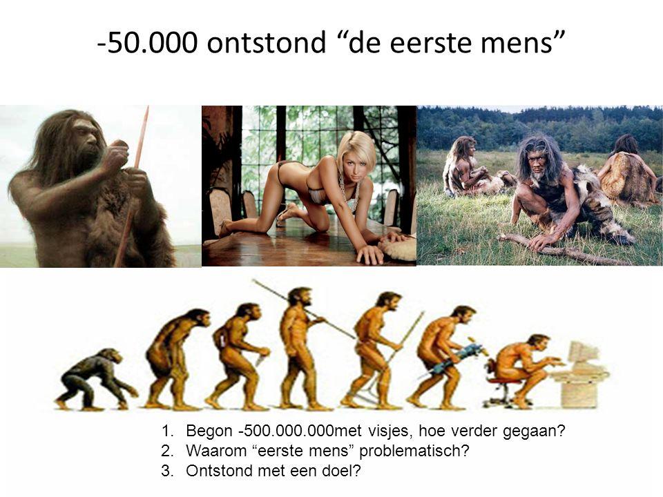 """1.Begon -500.000.000met visjes, hoe verder gegaan? 2.Waarom """"eerste mens"""" problematisch? 3.Ontstond met een doel? -50.000 ontstond """"de eerste mens"""""""