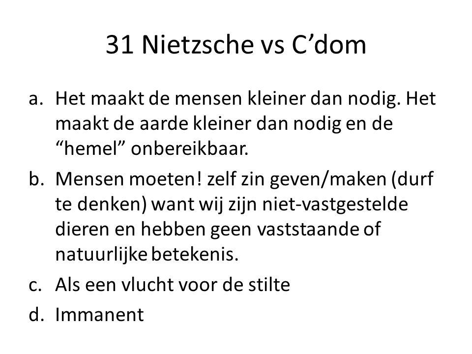 """31 Nietzsche vs C'dom a.Het maakt de mensen kleiner dan nodig. Het maakt de aarde kleiner dan nodig en de """"hemel"""" onbereikbaar. b.Mensen moeten! zelf"""