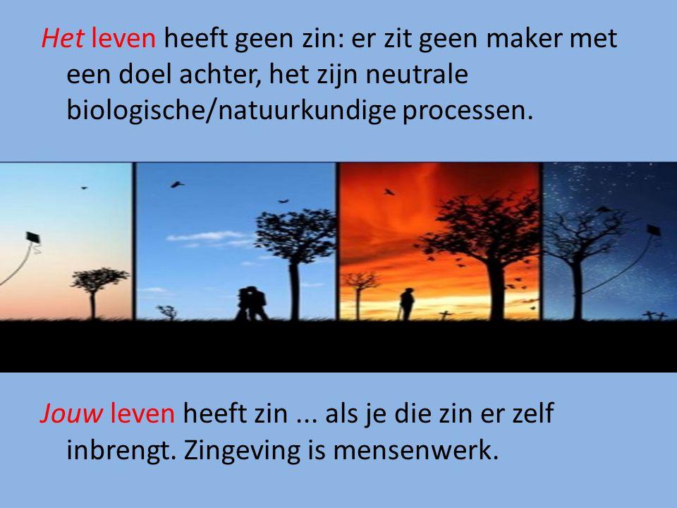 Het leven heeft geen zin: er zit geen maker met een doel achter, het zijn neutrale biologische/natuurkundige processen. Jouw leven heeft zin... als je