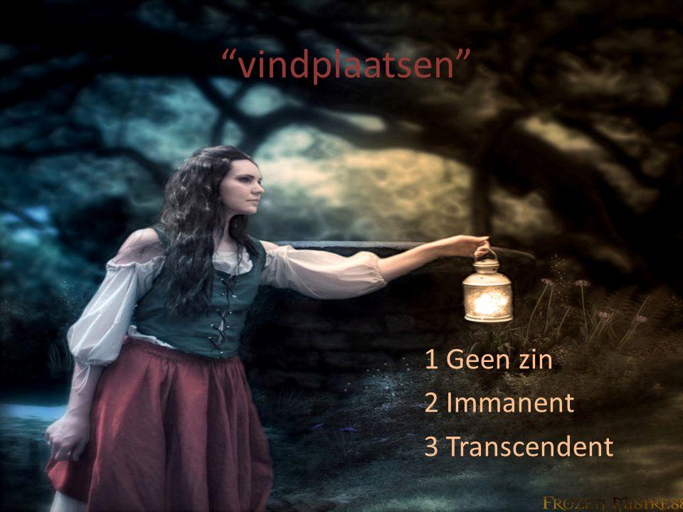 """""""vindplaatsen"""" 1 Geen zin 2 Immanent 3 Transcendent"""