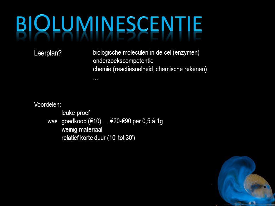 Leerplan? biologische moleculen in de cel (enzymen) onderzoekscompetentie chemie (reactiesnelheid, chemische rekenen)... Voordelen: leuke proef goedko