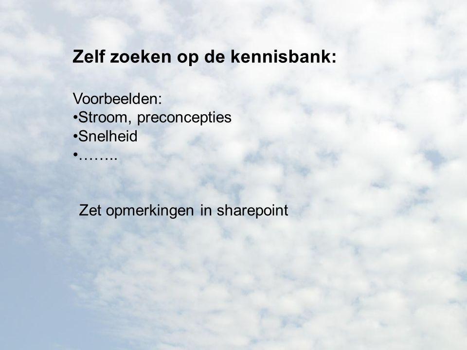 Zelf zoeken op de kennisbank: Voorbeelden: Stroom, preconcepties Snelheid …….. Zet opmerkingen in sharepoint