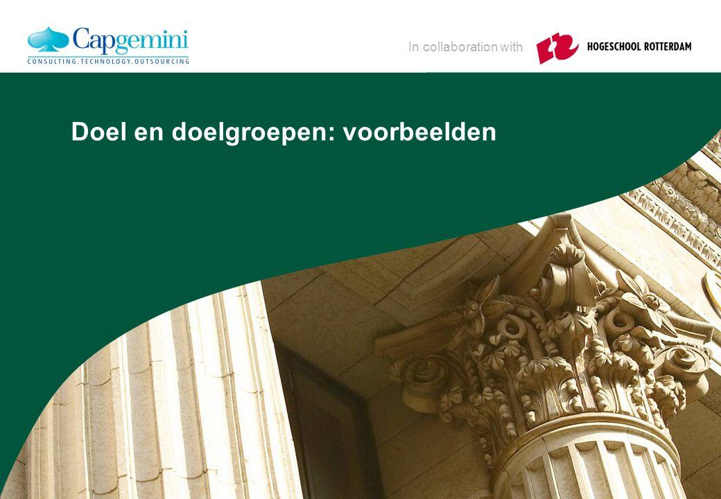 In collaboration with Doel en doelgroepen: voorbeelden