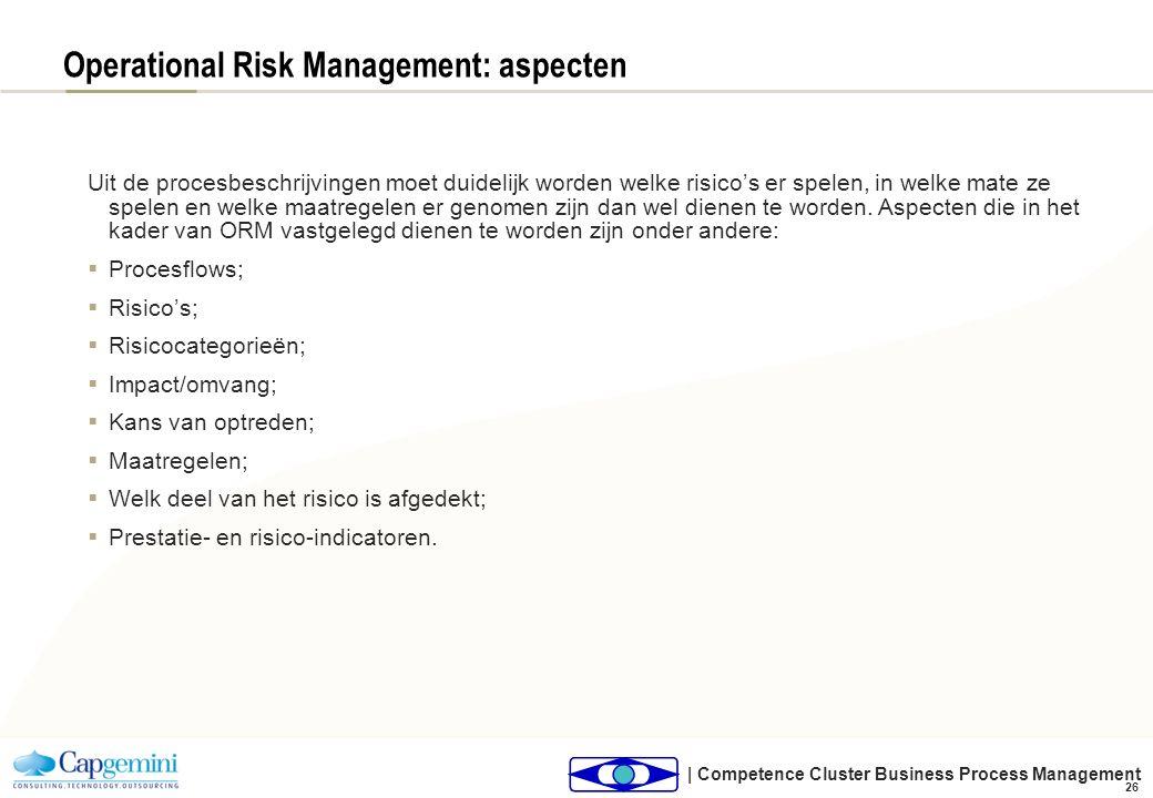 | Competence Cluster Business Process Management 26 Operational Risk Management: aspecten Uit de procesbeschrijvingen moet duidelijk worden welke risi