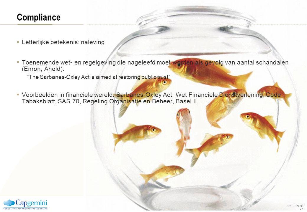 | Competence Cluster Business Process Management 27 Compliance  Letterlijke betekenis: naleving  Toenemende wet- en regelgeving die nageleefd moet w