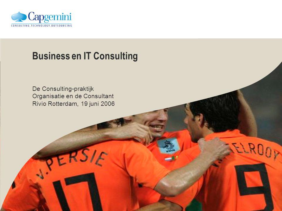 Business en IT Consulting De Consulting-praktijk Organisatie en de Consultant Rivio Rotterdam, 19 juni 2006