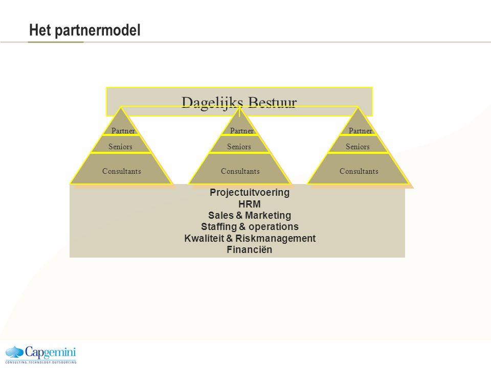 Projectuitvoering HRM Sales & Marketing Staffing & operations Kwaliteit & Riskmanagement Financiën Dagelijks Bestuur Het partnermodel Consultants Part