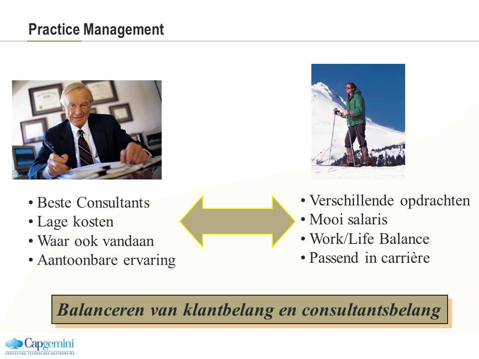 Practice Management Balanceren van klantbelang en consultantsbelang Verschillende opdrachten Mooi salaris Work/Life Balance Passend in carrière Beste