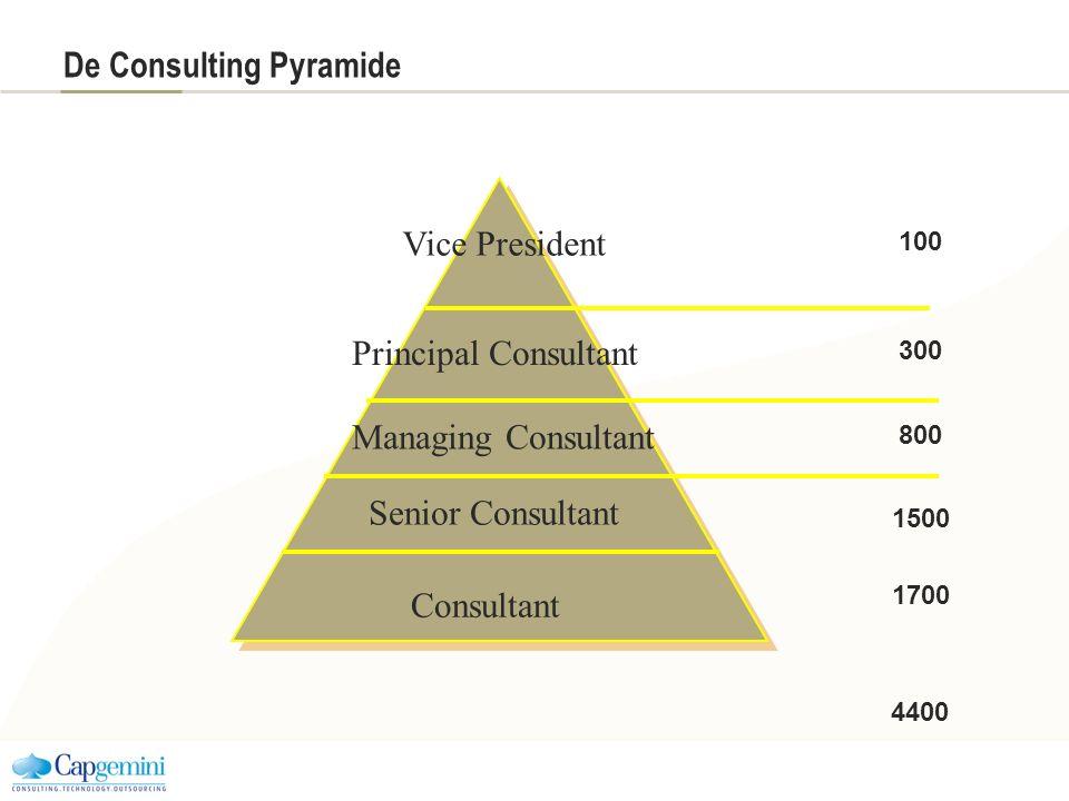 De Consulting Pyramide Consultant Vice President Senior Consultant Managing Consultant Principal Consultant 100 300 800 1500 1700 4400