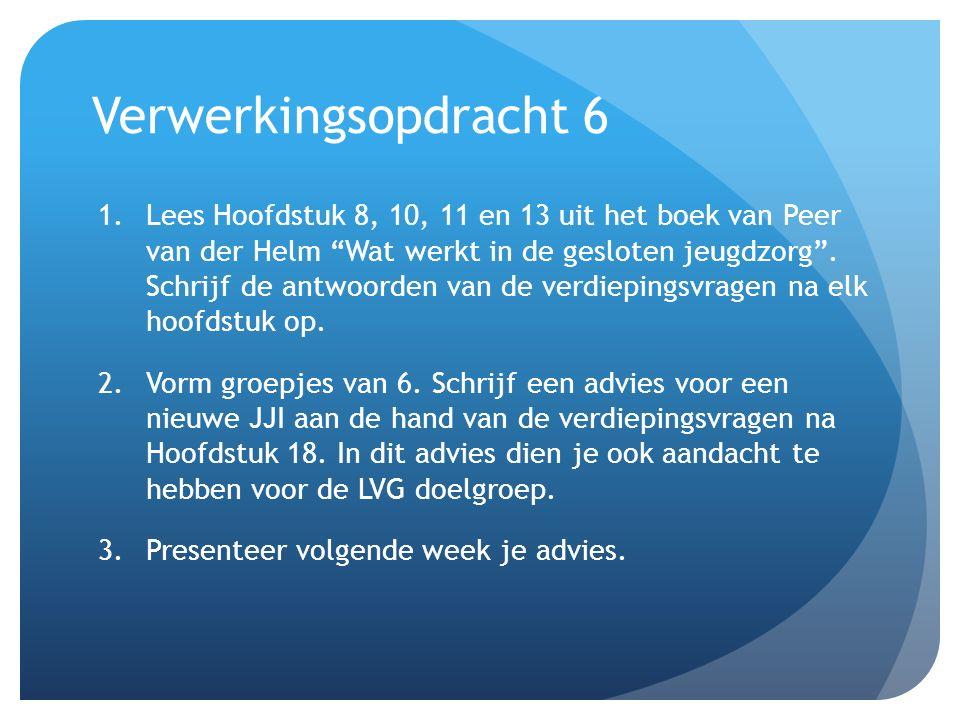 """Verwerkingsopdracht 6 1.Lees Hoofdstuk 8, 10, 11 en 13 uit het boek van Peer van der Helm """"Wat werkt in de gesloten jeugdzorg"""". Schrijf de antwoorden"""