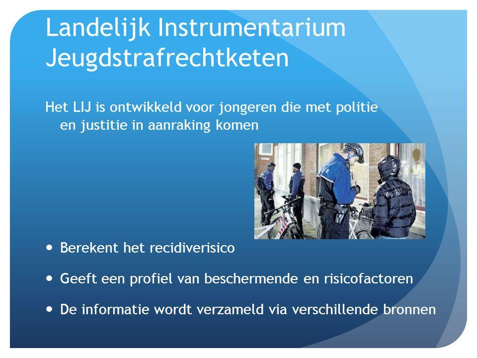 Landelijk Instrumentarium Jeugdstrafrechtketen Het LIJ is ontwikkeld voor jongeren die met politie en justitie in aanraking komen Berekent het recidiverisico Geeft een profiel van beschermende en risicofactoren De informatie wordt verzameld via verschillende bronnen