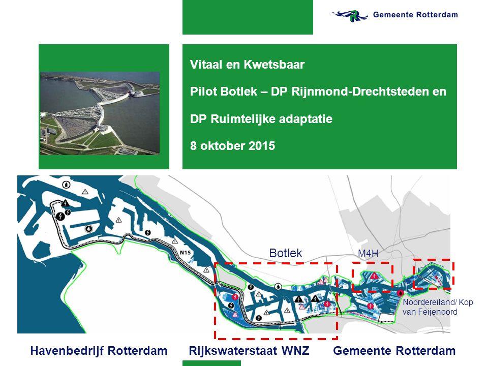 Vitaal en Kwetsbaar Pilot Botlek – DP Rijnmond-Drechtsteden en DP Ruimtelijke adaptatie 8 oktober 2015 Botlek M4H Noordereiland/ Kop van Feijenoord Ha