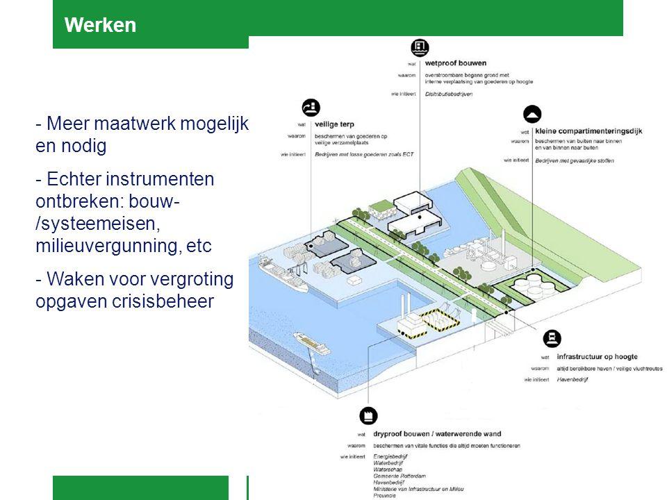 - Meer maatwerk mogelijk en nodig - Echter instrumenten ontbreken: bouw- /systeemeisen, milieuvergunning, etc - Waken voor vergroting opgaven crisisbe
