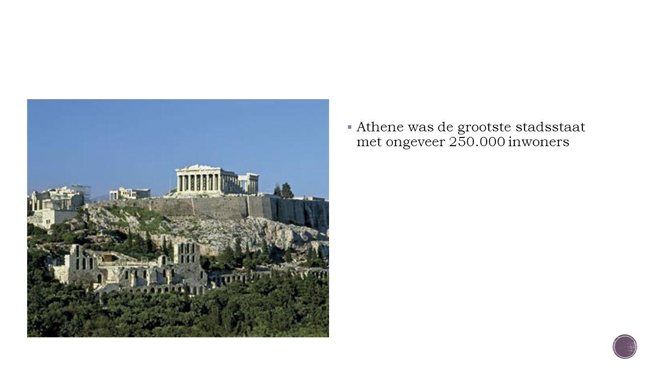  Athene was de grootste stadsstaat met ongeveer 250.000 inwoners