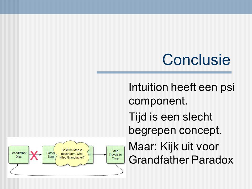 Conclusie Intuition heeft een psi component. Tijd is een slecht begrepen concept.