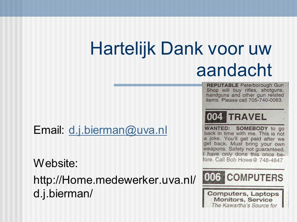 Hartelijk Dank voor uw aandacht Email: d.j.bierman@uva.nld.j.bierman@uva.nl Website: http://Home.medewerker.uva.nl/ d.j.bierman/