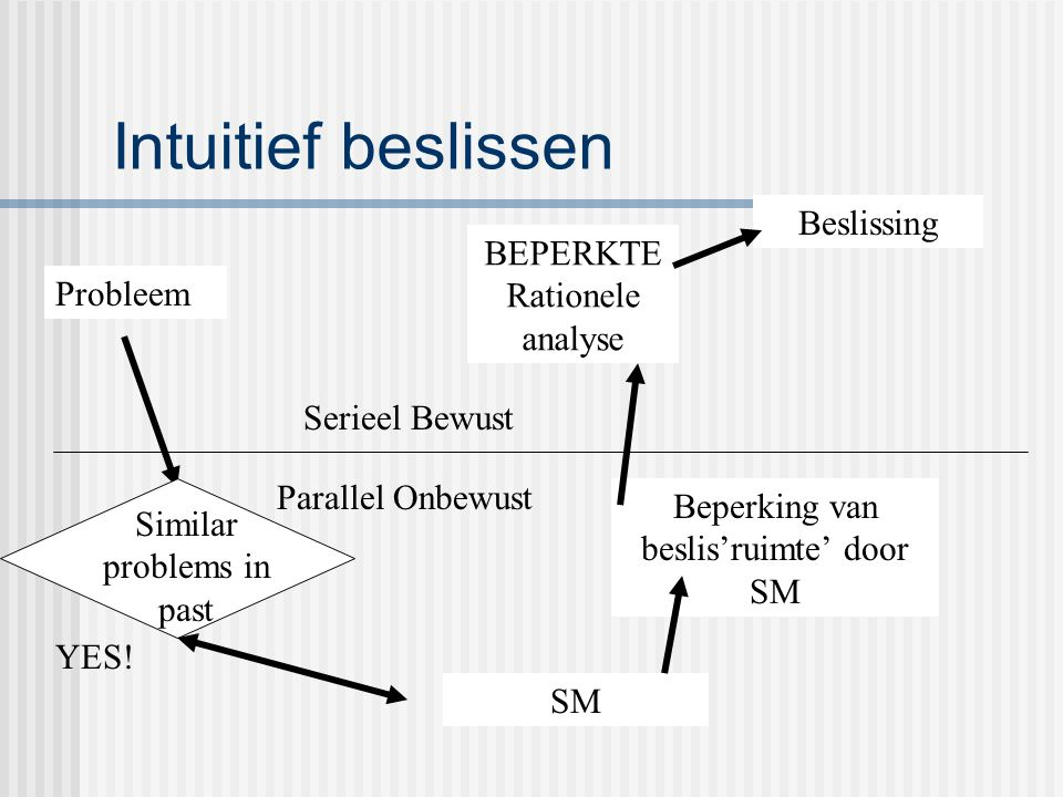 Intuitief beslissen Probleem Similar problems in past SM YES.