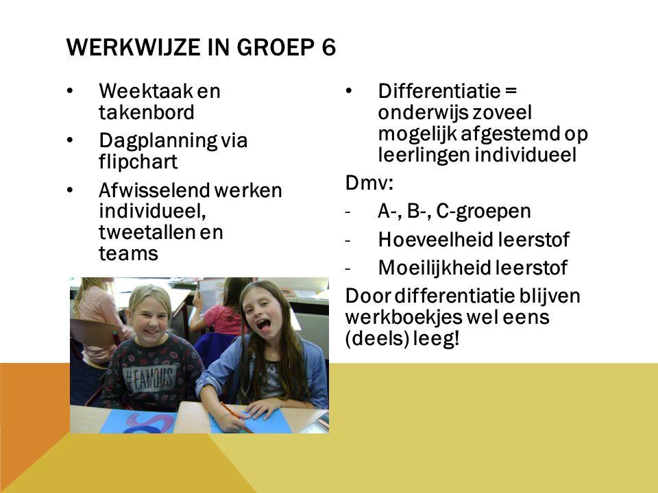 Weektaak en takenbord Dagplanning via flipchart Afwisselend werken individueel, tweetallen en teams Differentiatie = onderwijs zoveel mogelijk afgeste