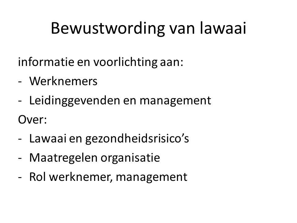 Bewustwording van lawaai informatie en voorlichting aan: -Werknemers -Leidinggevenden en management Over: -Lawaai en gezondheidsrisico's -Maatregelen organisatie -Rol werknemer, management