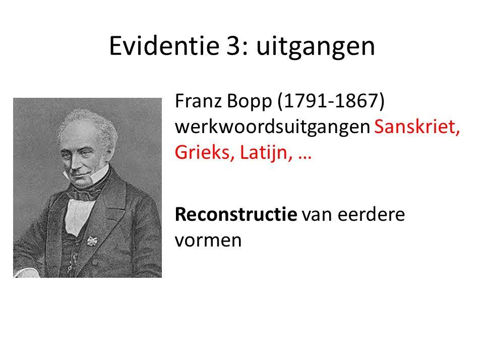 Evidentie 3: uitgangen Franz Bopp (1791-1867) werkwoordsuitgangen Sanskriet, Grieks, Latijn, … Reconstructie van eerdere vormen