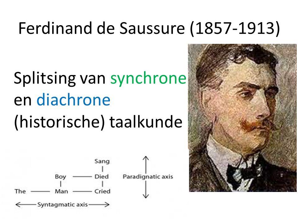 Ferdinand de Saussure (1857-1913) Splitsing van synchrone en diachrone (historische) taalkunde