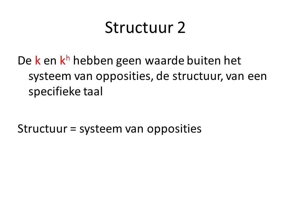 Structuur 2 De k en k h hebben geen waarde buiten het systeem van opposities, de structuur, van een specifieke taal Structuur = systeem van opposities