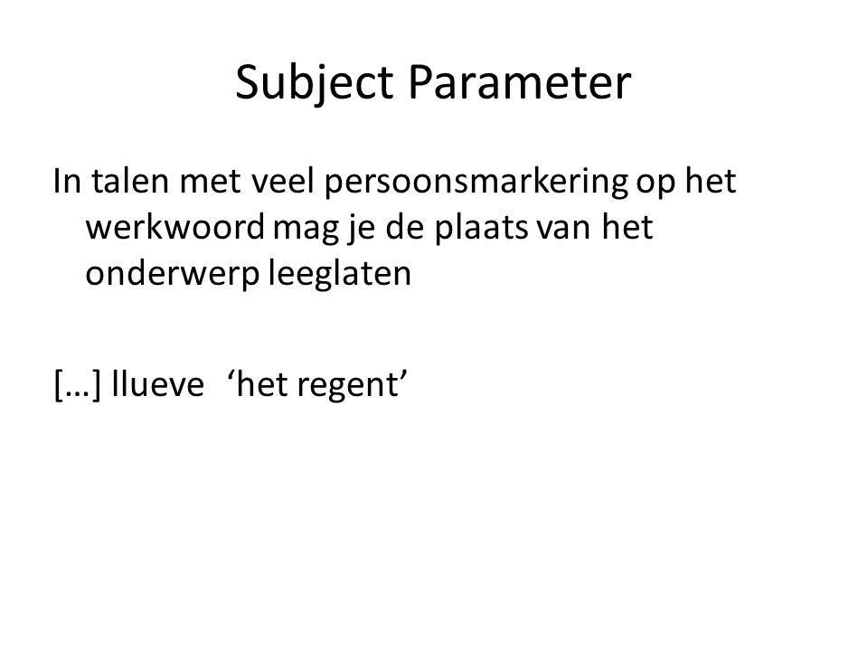 Subject Parameter In talen met veel persoonsmarkering op het werkwoord mag je de plaats van het onderwerp leeglaten […] llueve'het regent'