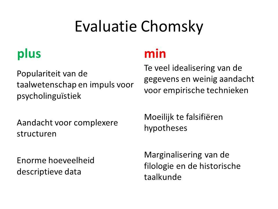 Evaluatie Chomsky plus Populariteit van de taalwetenschap en impuls voor psycholinguïstiek Aandacht voor complexere structuren Enorme hoeveelheid descriptieve data min Te veel idealisering van de gegevens en weinig aandacht voor empirische technieken Moeilijk te falsifiëren hypotheses Marginalisering van de filologie en de historische taalkunde