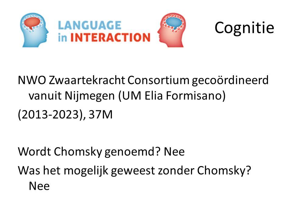 Cognitie NWO Zwaartekracht Consortium gecoördineerd vanuit Nijmegen (UM Elia Formisano) (2013-2023), 37M Wordt Chomsky genoemd? Nee Was het mogelijk g