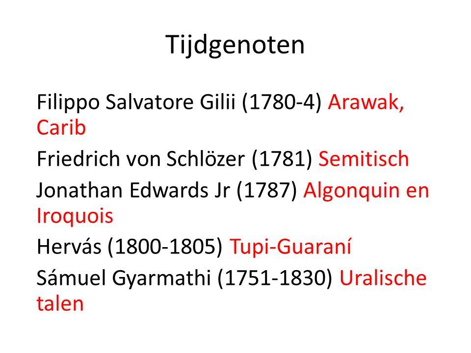 Tijdgenoten Filippo Salvatore Gilii (1780-4) Arawak, Carib Friedrich von Schlözer (1781) Semitisch Jonathan Edwards Jr (1787) Algonquin en Iroquois He