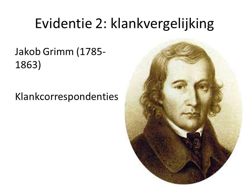 Evidentie 2: klankvergelijking Jakob Grimm (1785- 1863) Klankcorrespondenties