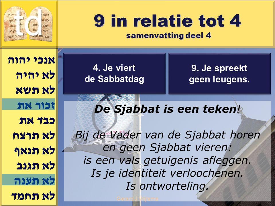 Gerard J.Wijtsma 9. Je spreekt geen leugens. 9. Je spreekt geen leugens. 4. Je viert de Sabbatdag 4. Je viert de Sabbatdag De Sjabbat is een teken! Bi