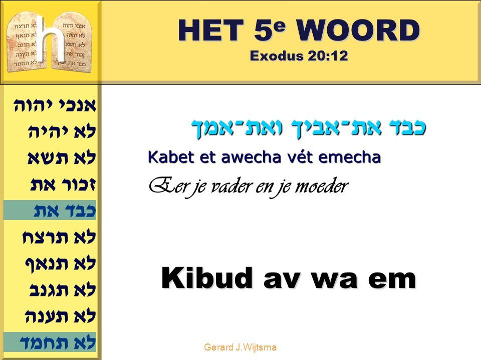Gerard J.Wijtsma HET 5 e WOORD Exodus 20:12 Kibud av wa em