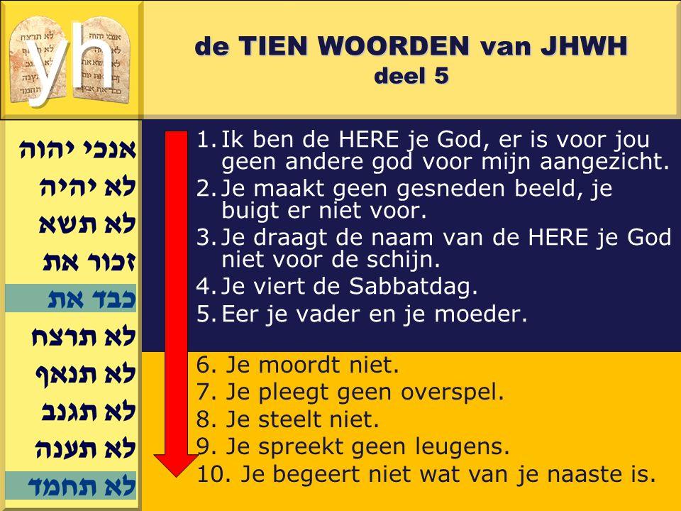 Gerard J.Wijtsma de TIEN WOORDEN van JHWH deel 5 1.Ik ben de HERE je God, er is voor jou geen andere god voor mijn aangezicht. 2.Je maakt geen gesnede