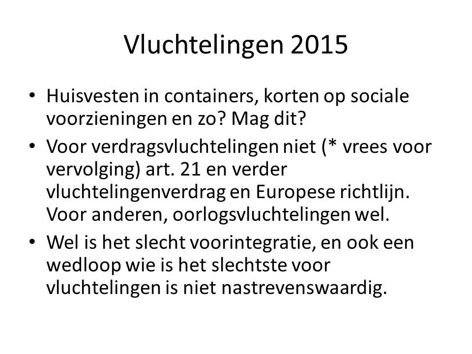 Vluchtelingen 2015 Huisvesten in containers, korten op sociale voorzieningen en zo? Mag dit? Voor verdragsvluchtelingen niet (* vrees voor vervolging)