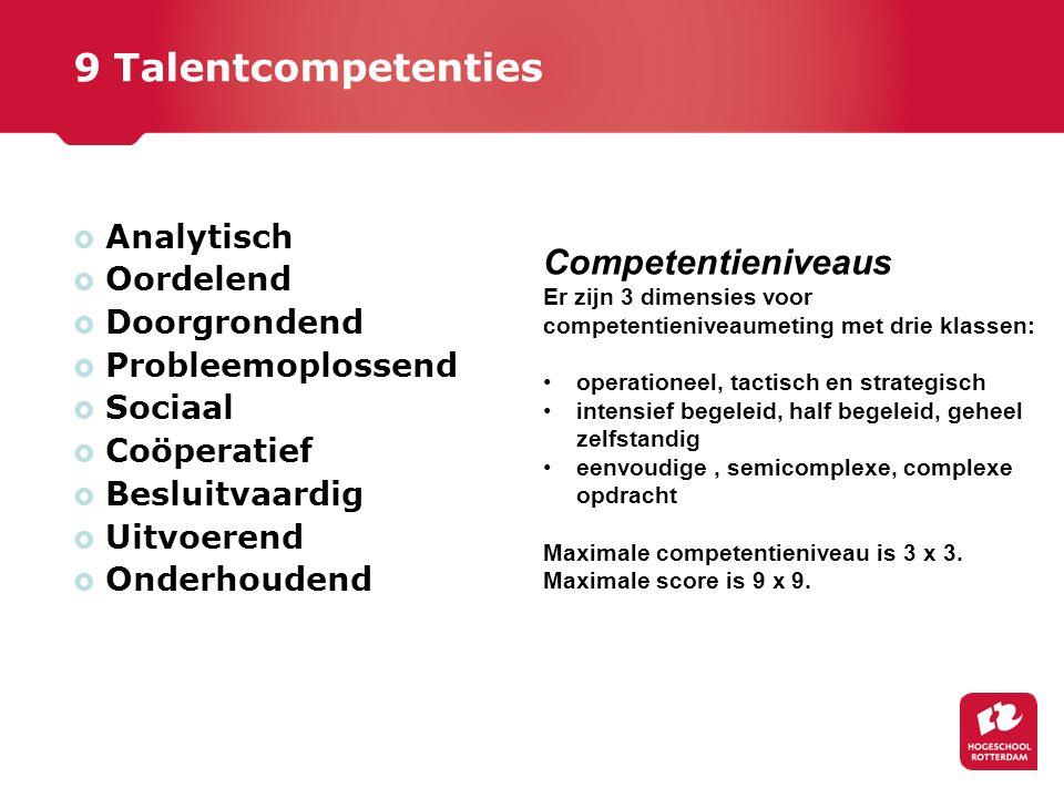 9 Talentcompetenties  Analytisch  Oordelend  Doorgrondend  Probleemoplossend  Sociaal  Coöperatief  Besluitvaardig  Uitvoerend  Onderhoudend