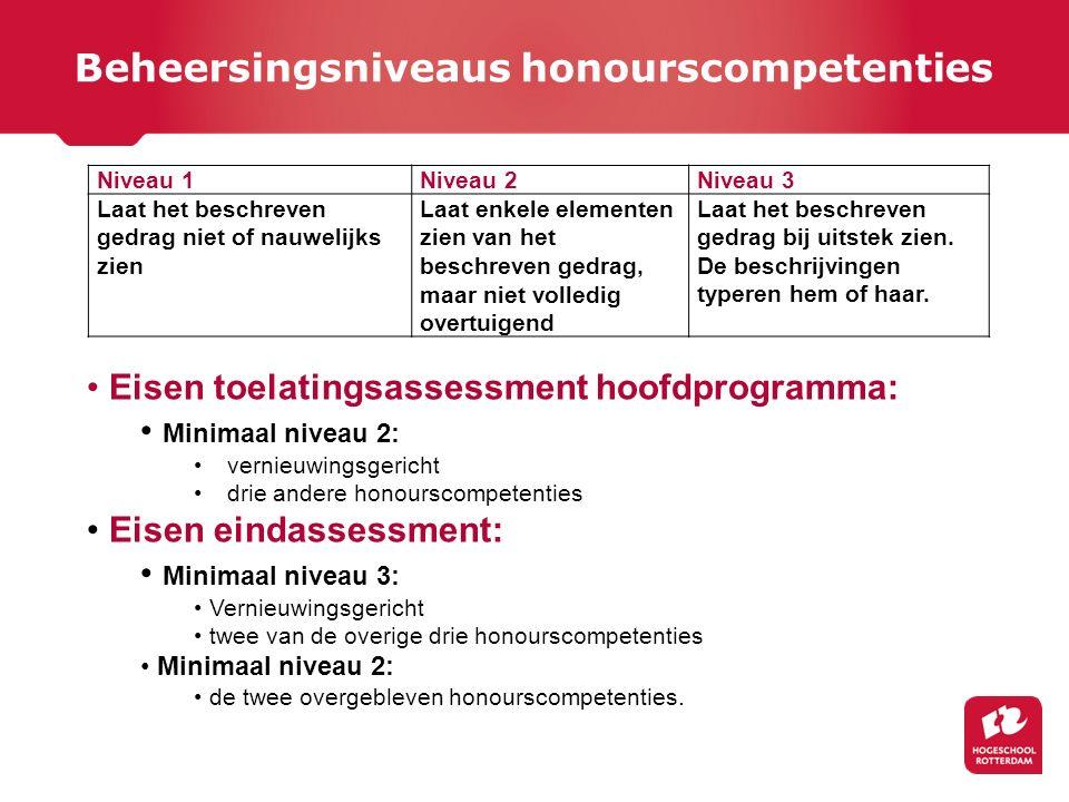 Beheersingsniveaus honourscompetenties Niveau 1Niveau 2Niveau 3 Laat het beschreven gedrag niet of nauwelijks zien Laat enkele elementen zien van het
