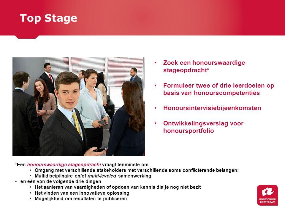 Top Stage Zoek een honourswaardige stageopdracht* Formuleer twee of drie leerdoelen op basis van honourscompetenties Honoursintervisiebijeenkomsten On