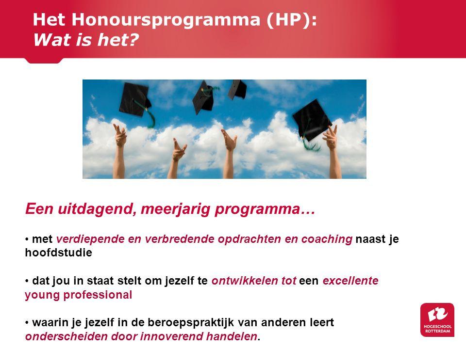 Het Honoursprogramma (HP): Wat is het? Een uitdagend, meerjarig programma… met verdiepende en verbredende opdrachten en coaching naast je hoofdstudie