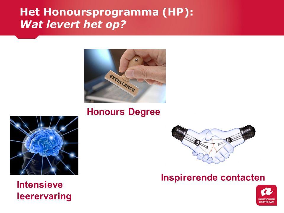 Het Honoursprogramma (HP): Wat levert het op? Honours Degree Inspirerende contacten Intensieve leerervaring
