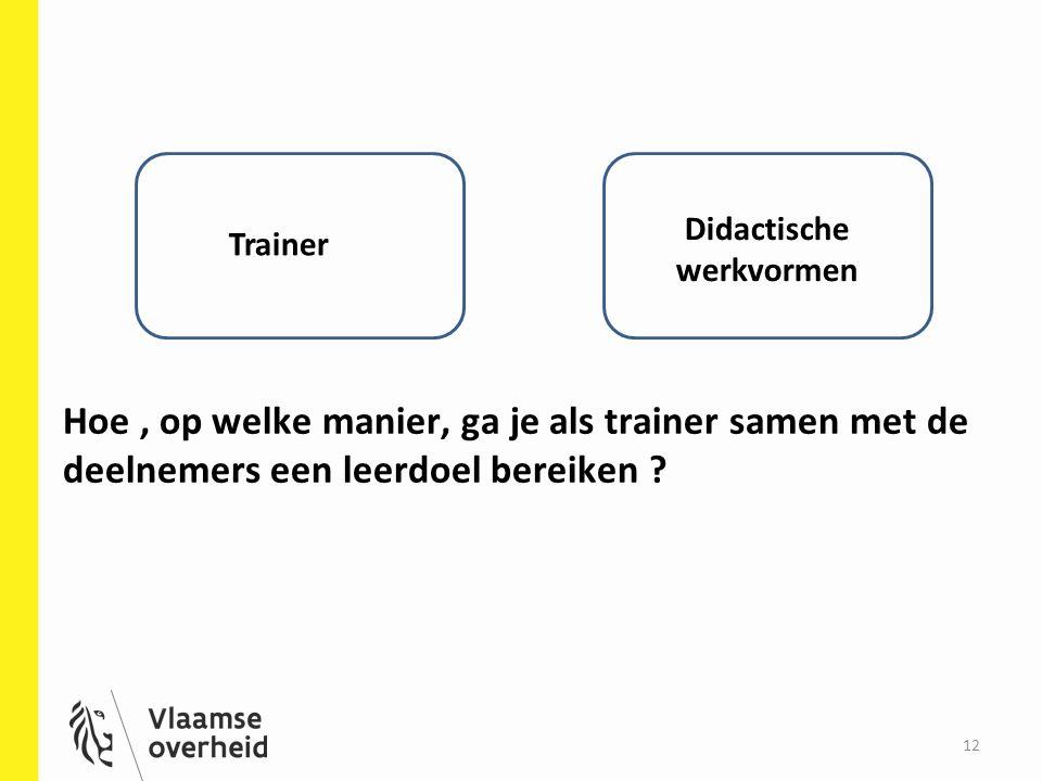 Hoe, op welke manier, ga je als trainer samen met de deelnemers een leerdoel bereiken ? 12 Trainer Didactische werkvormen